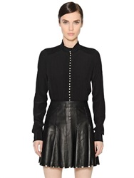 Diesel Black Gold Pleated Silk Crepe De Chine Shirt