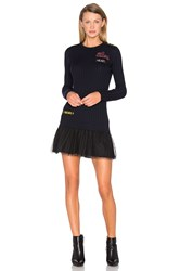 Red Valentino Long Sleeve Sweater Dress Navy