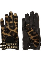 Valentino Leopard Print Calf Hair And Leather Gloves Animal Print