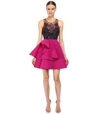 Marchesa Embroidered Cocktail With Draped Faille Skirt With Pocket Fuchsia