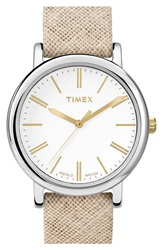 Timex 'Classic' Fabric Strap Watch 33Mm Natural Silver