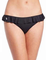 Polo Ralph Lauren Solids Ruffle Bikini Bottom Black