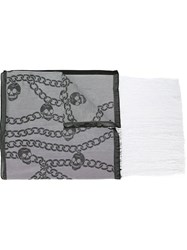 Alexander Mcqueen Chain And Skull Print Scarf Black