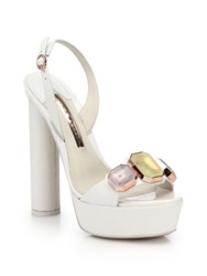 Sophia Webster Jemima Jeweled Leather Platform Sandals White