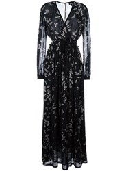 Just Cavalli 'Birds' Print Long Dress Black