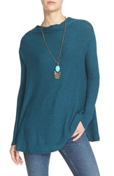 Free People Women's 'Love' Split Back Pullover Turquoise