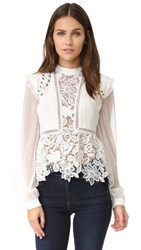 Self Portrait Lace Detail Top Cream