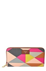 Fossil 'Sydney' Zip Around Leather Phone Wallet Pink Multi