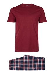 Topman Red Burgundy Check Pyjama Set