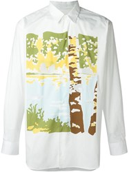 Comme Des Gara Ons Shirt Cut Out Print Shirt White