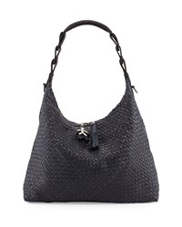 Gwen Woven Leather Hobo Bag Navy Henry Beguelin