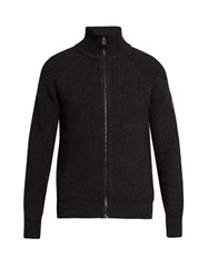 Belstaff Harleston Ribbed Wool Cardigan Charcoal