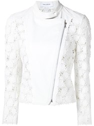 Yigal Azrouel Hibiscus Lace Moto Jacket White