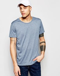 Weekday Alex Wide Neck T Shirt In Blue Marl Blue 76 205