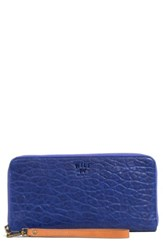 Women's Will Leather Goods 'Imogen' Washed Italian Lambskin Leather Checkbook Clutch Blue Royal