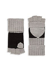 Calvin Klein Knit Colorblock Fingerless Gloves Black Grey