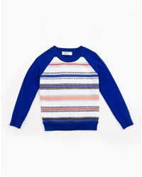 Milly Minis Couture Stripe Raglan Sweatshirt Cobalt