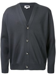 H Beauty And Youth. Fine Needle V Neck Cardigan Grey