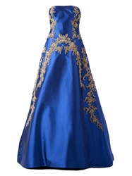 Reem Acra Embroidered Brocade Strapless Gown Blue