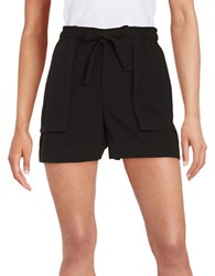 Lord And Taylor Textured Crepe Shorts Black