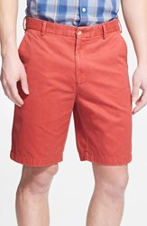 Men's Big And Tall Peter Millar 'Winston' Washed Twill Flat Front Shorts Sport Red