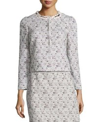 Giambattista Valli Floral Tweed Jacket Pink White Pink White