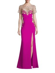Marchesa High Slit Embroidered Gown Magenta