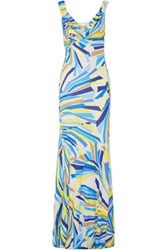 Emilio Pucci Printed Jersey Gown Turquoise