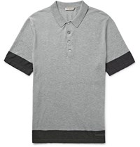 Burberry Brit Slim Fit Knitted Cotton Polo Shirt Gray