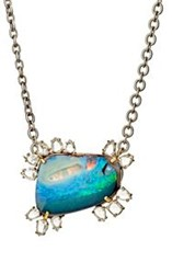 Irene Neuwirth Women's White Diamond And Boulder Opal Pendant Necklace C Colorless