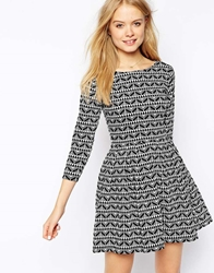 Pull And Bear Pullandbear Knitted Skater Dress In Print Black