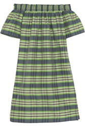 J.Crew Collection Mistflower Off The Shoulder Silk Mini Dress Green