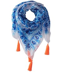 Lilly Pulitzer On The Square Scarf Bomber Blue Get Trunky Engineered Scarves