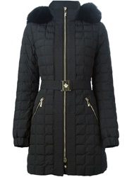Versace Fox Fur Trim Padded Coat Black