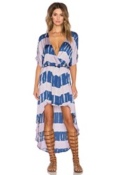 Gypsy 05 Crosss Over Hi Low Maxi Dress Blue