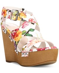 Fergalicious Libby Platform Wedge Sandals Women's Shoes White Floral
