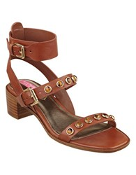 Isaac Mizrahi Strap 2 Faux Leather Sandals Brown
