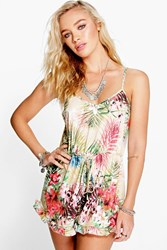 Boohoo Tropical Print Ruffle Hem Playsuit Multi