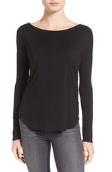 Paige Women's 'Bess' Stretch Jersey Boatneck Tee Black