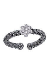 Meshmerise Black Rhodium Plated And Sterling Silver Diamond Flower Braided Mesh Ring 0.10 Ctw Metallic
