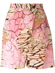 Louise K Rner X Muuse High Waisted Earth Print Shorts Pink And Purple