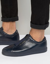 Religion Snakeskin Trainers Navy