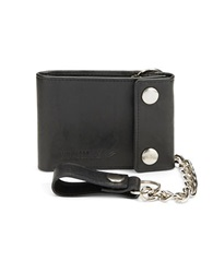 William Rast Slim Trifold Leather And Chain Wallet Black