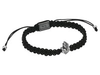 King Baby Studio Macrame Bracelet With White Alloy Sacred Heart Bead White Alloy Bracelet Black