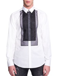Dolce And Gabbana Cotton And Silk Organza Sportshirt White Black