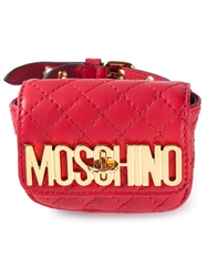 Moschino Quilted Wrist Wallet Red
