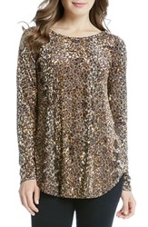 Karen Kane Women's Leopard Burnout Shirttail Tee