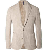 Incotex Sand Slim Fit Woven Cotton Blend Blazer Gray