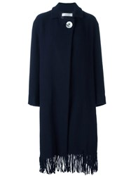 Victoria Beckham Fringed Wrap Button Coat Blue