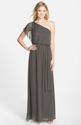 Women's Nouvelle Amsale One Shoulder Chiffon Gown Grey